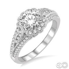 1 1/6 Ctw Diamond Engagement Ring with 3/4 Ct Round Cut Center Stone in 14K White Gold