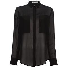 T BY ALEXANDER WANG Sheer Blouse (€345) ❤ liked on Polyvore featuring tops, blouses, shirts, blusas, camisas, see through blouse, black long sleeve shirt, long sleeve sheer blouse, sheer shirt and black blouse