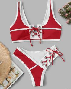 Shop Contrast Piping Lace-up Hipster Cheeky Bikini Set online. SHEIN offers Contrast Piping Lace-up Hipster Cheeky Bikini Set & more to fit your fashionable needs. Bikini Modells, Bikini Ready, Cheeky Bikini, Trendy Swimwear, Cute Swimsuits, Swimwear Fashion, Bikini Fashion, Bikini Outfits, Cute Bathing Suits