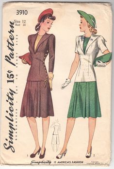 Vintage Sewing Pattern 1940's Misses' Two Piece Dress Simplicity 3910 Size 12