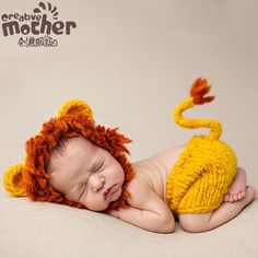 Newborn Photography Props Baby Hat Girl Lovely Lion Cub