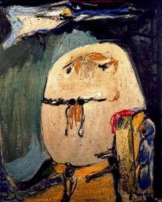 """Malheureusement peu connu du grand public, Asger Jorn est l'un des fondateurs et l'une des figures marquantes du mouvement CoBrA en 1948 avec Dotremont, Alechinsky et Appel. Après la guerre (qu'il fera dans la résistance au Danemark), il participe au surréalisme révolutionnaire et fonde CoBrA. L'imagination et l'expression furent les deux piliers de son art. Ses toiles figuratives rappellent l'art brut de Jean Dubuffet avec lequel il collabora.  """"Tout acte d'imagination est un acte magique""""."""