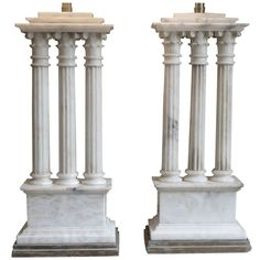 Pair of Classical Alabaster Column Lamps | From a unique collection of antique and modern table lamps at https://www.1stdibs.com/furniture/lighting/table-lamps/