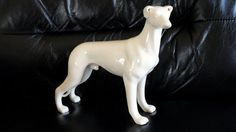 Vintage Exquisite Ceramic Greyhound Standing Ceramic Figurine