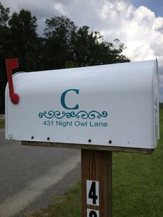 Personalized Mailbox Vinyl Decal by BusyBeeStudio2013 on Etsy, $20.00