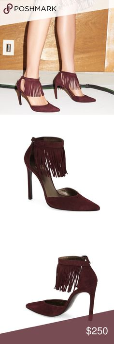 """Stuart Weitzman Maroon Suede Ankle Fringe Pumps Brand NWT & original box - Stuart Weitzman Maroon Suede Ankle Fringe Pumps. A trendy version of be best selling Nudist sandal, this buttery-soft Suede look features a pointy closed toe and swingy fray at the ankle. 4.5"""" heel, adjustable strap with ankle. Size 7.5. No modeling/trades. Stuart Weitzman Shoes Heels"""