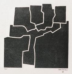 "Eduardo #Chillida  ""Beltza V"", 1969. Xilografía sobre madera de 40x40 cm., Papel Japón de 50 gr. de medidas 62,5x94,3 cm. Ej.: 75 #art #xylograph #SanSebastian"