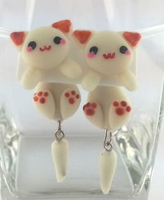Dog Lovers Little White Puppy   Stud Earrings Clay Polymer Clay Fashion Gift Handmade Wedding Anniversary by CandleBakeryCandles on Etsy