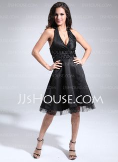 Cocktail Dresses -  A-Line/Princess Halter Knee-Length Satin Tulle Cocktail Dress With Ruffle Beading (016008223) http://jjshouse.com/A-Line-Princess-Halter-Knee-Length-Satin-Tulle-Cocktail-Dress-With-Ruffle-Beading-016008223-g8223