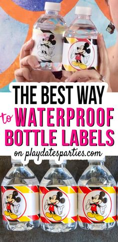 Want the best way to make waterproof water bottle labels? We tested all the papers and DIY techniques to find the right choice for your budget and schedule. Printable Sticker Paper, Vinyl Sticker Paper, Mickey Mouse Bday, Mickey Birthday, Printable Water Bottle Labels, Printable Labels, Paper Water Bottle, How To Make Water, Party Planning Checklist