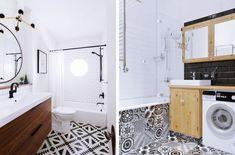 astuce comment aménager une salle de bain 5m2, déco de pièce blanche au plancher en carrelage blanc et noir avec meubles de bois clair ou foncé Bathtub, Alcove Bathtub, Bathroom