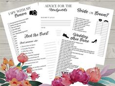 5 Wedding Reception Games, Printable Wedding Reception Game, Fun Wedding Game, Creative Wedding Activities  ► WHATS INCLUDED Advice for the Newlyweds Bride or groom Find the Guest I spy with my camera Wedding shoe game  #party #games #wedding #weddinggames #partygames