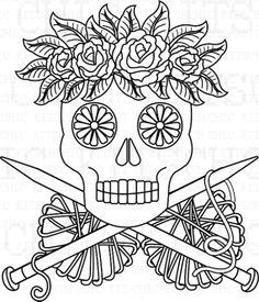 Color Your Own Sugar Skull Dead People Knit Digital por ChicKitsch