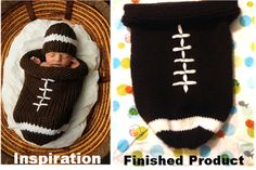 Free knitting pattern for baby football cocoon (sack)