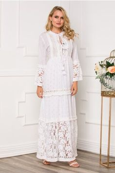 Pagina 2 - Rochii de Zi Casual - Preturi Avantajoase | DyFashion White Dress, Dresses With Sleeves, Boho, Long Sleeve, Floral, Casual, Shopping, Fashion, Moda