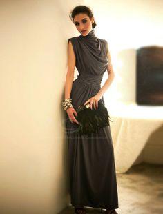 Open Back Turtle Neck Sleeveless Black Maxi Dress For Women (BLACK) China Wholesale - Sammydress.com