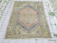 Vintage Turkish Oushak Rug Handwoven Muted Color Rug Interesting Pattern Carpet  5.4 x 3.6 feet Floor Rug