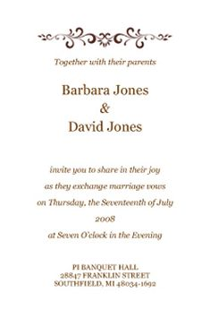 Sample Wedding Invitation Wordings