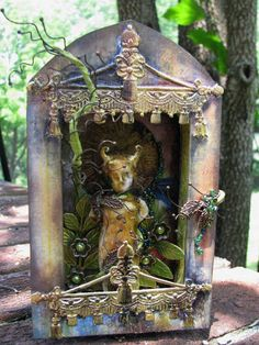 I'd love to do an art project with students where we create little shrines... Forest Shrine - by Cackle on Craftster.org