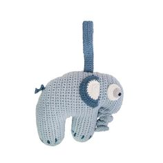 This little crochet elephant by Sebra plays a sweet tune when his trunk is pulled. The elephant has a velcro strap attached to his back, allowing you to hang him over a cot or changing table.Size: Height 25 cm x Width 17 cm Material: Cotton Crochet Elephant, Cute Elephant, Franck Fischer, Music Clock, Elephant Stuffed Animal, Cot Mobile, Pull Toy, Kids Branding, Velcro Straps