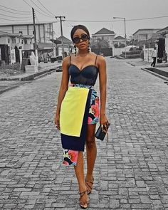 has us hooked on this asymmetrical skirt! Ladies, are we loving this look as seen on SMA Style a Star Let us… Modern Outfits, Classy Outfits, Chic Outfits, Fashion Outfits, Fashion Trends, African Inspired Fashion, Latest African Fashion Dresses, African Print Fashion, African Wear