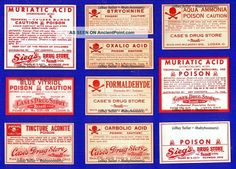 10 ~all Poison~ Ohio Pharmacy Drug Store Medicine Label Other photo