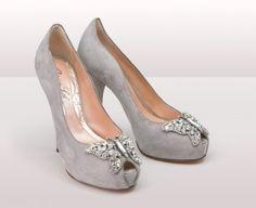 Farfalla Grey Suede Heel