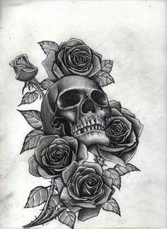 Image result for skull and rose tattoo on lower back #tattoosonbackskull