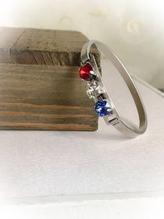 Patriotic Red White and Blue Swarovski Crystal Elements ID