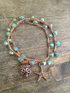 Starfish Dreams Multi Wrap Crochet Bracelet Beach Chic $25.00