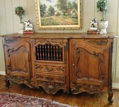 Antique French Country Buffet Louis XV Cabinet Sideboard Carving Parquet Old | eBay