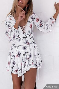 Radom Floral Print V-neck Criss-Cross Mini Dress in White