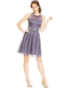 Adrianna Papell Belted Chiffon Halter Dress, Macy's-- would make a great bridesmaid dress for a wedding