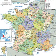 Large detailed political and administrative map of France with all roads, cities and airports