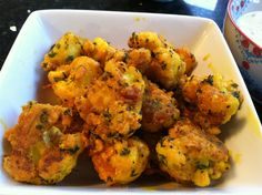 Crispy Italian Paleo Cauliflower Poppers!( made with arrowroot and almond meal, so not so starchy)