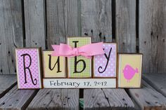 Personalized Name Wood Block Set . . . great for wedding home decor primitive gift boy girl family personalized wood sign. $3.75 per block, via Etsy.