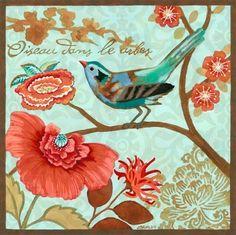 """Turquoise Bird Poppy"" By Jennifer Brinley."