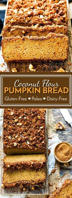 Coconut Flour Pumpkin Bread with Crumb Topping A gluten free, dairy free and paleo pumpkin bread recipe that is made with maple syrup, coconut flour and fresh pumpkin puree! A yummy Fall and Winter dessert or breakfast recipe. Paleo Dessert, Paleo Sweets, Gluten Free Desserts, Dairy Free Recipes, Dessert Recipes, Bread Recipes, Dessert Bread, Diet Desserts, Dairy Free Thanksgiving Recipes