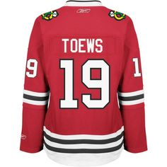 Reebok Women's Jonathan Toews Chicago Blackhawks Premier Player Jersey ($130) ❤ liked on Polyvore featuring red, reebok, chicago blackhawks jersey, red jersey and reebok jerseys