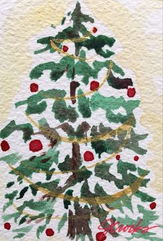 By Jeanette Crooks Watercolor Christmas Art, Christmas Tree, Holiday Decor, Home Decor, Teal Christmas Tree, Decoration Home, Room Decor, Xmas Trees, Christmas Trees