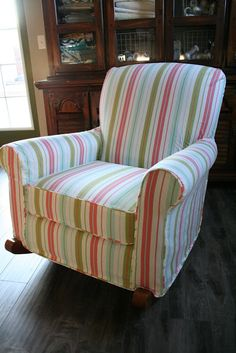 Custom Slipcovers by Shelley: Striped Upholstered Rocker - great example