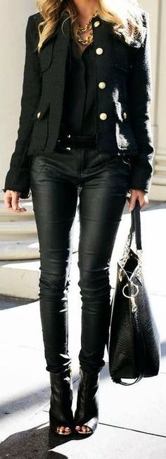 Love the black on black, leather on leather, with peep toe booties!  So city chic!