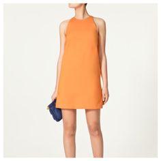 Zara Basic Orange shift dress w/pockets size Large Super cute Zara Basics orange tangerine shift dress with pockets size large. High neck, back keyhole button closure, fully lined and it has POCKETS!!! Size Large!! Soooo cute. In good used shape- a lil wrinkly, can use a steam. Zara Dresses