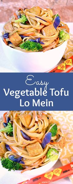 Skip the Chinese takeout and make this Vegetable Tofu Lo Mein instead! This easy veggie lo mein recipe is ready fast and is so tasty. Your whole family will love this simple lo mein with tofu and vegetables … make it tonight! Vegetarian Lo Mein, Vegetarian Pasta Recipes, Easy Chicken Dinner Recipes, Tofu Recipes, Asian Recipes, Healthy Recipes, Savoury Recipes, Fast Recipes, Homemade Tofu