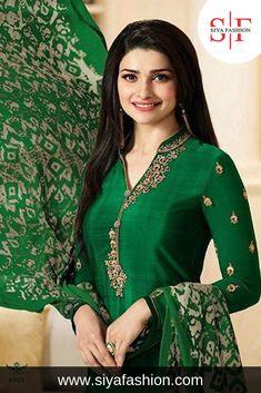 96a3461ab7719 Siya #Fashion #Designer Green #Embroidered #Work #Straight #Suit. #
