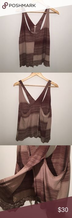 Free People Cross Over Back Boho Tank Brown knit tank. Back opens up on bottom. Nice crochet detail on bottom. Great condition! Free People Tops Tank Tops