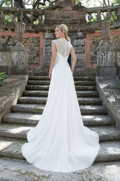 Sincerity Bridal - Style 3905: Chiffon Ball Gown with Sweetheart Neckline and Beaded Illusion Back