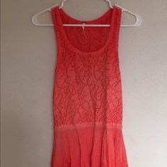 Free People orange top Great fabric combination. Never worn! Free People Tops