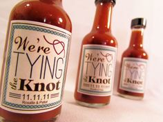 Tying the Knot ~ Hot Sauce Engagement Party favors / Save the Date ~ DaSweetZpot