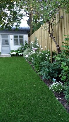 Shed Plans - artificial easy grass lawn summer house sandstone paving and white flower planting scheme Now You Can Build ANY Shed In A Weekend Even If Youve Zero Woodworking Experience! Landscape Designs, Landscape Plans, Inexpensive Backyard Ideas, Sandstone Paving, Small Backyard Landscaping, Landscaping Ideas, Acreage Landscaping, Fun Backyard, Small Garden Design